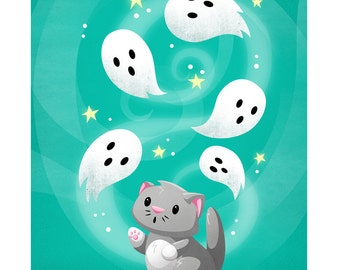 Ghosts and Kitty at Play - Cute Halloween Ghost and Cat 8x10 Print by Geri Shields