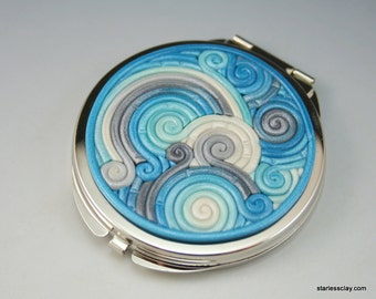 Compact Mirror in Turquoise and Silver Polymer Clay Filigree