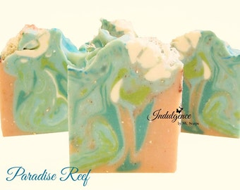 Soap-Paradise Reef, handmade soap, cold process soap, vegan soap, summer soap, tropical soap
