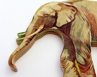 Elephant Brooch - Lapel Pin / Upcycled Vintage 1960s Wood Puzzle Piece / Unique GIft Under 30 / Brown Wood Jungle Animal Brooch