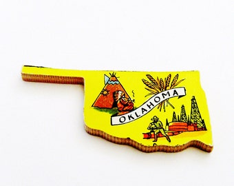 1960s Oklahoma Brooch - Pin / Unique Wearable History Gift Idea / Upcycled Vintage Hand Cut Wood Jewelry / Timeless Gift Under 25