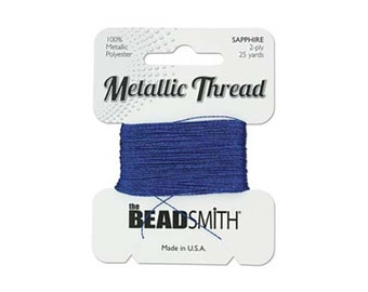Metallic Thread by Beadsmith 43484 Sapphire Blue 25 yds, Polyester Core Metallic Thread, Beadwork Thread, Embellishment Threads
