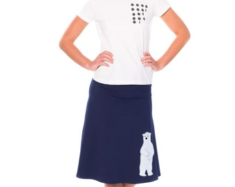 Midnight Blue Cotton Skirt, Midi A-line Skirt, Jersey Knit Skirt, Supre cute Applique Skirt - Sweet Polar Bear