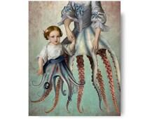 Octopus Siren Mermaid Nautical Portrait Blue Pink Print Digital Art Surreal Home Decor Beach House Squid Lovecraft Governess