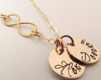 Name Necklace - Infinity Mother's Necklace - Mothers Jewelry -   Hand Stamped Necklace - Gold Infinity Necklace