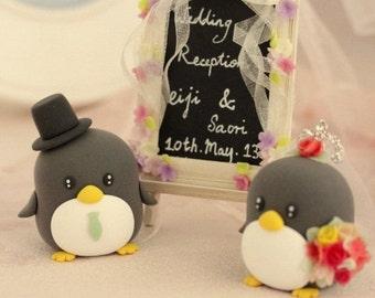 penguin wedding cake topper