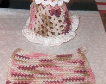 Crochet dish cloth & Soap Dress 12 oz. size, multi pink and tan, white trim