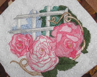 Roses Potholders, machine embroidered