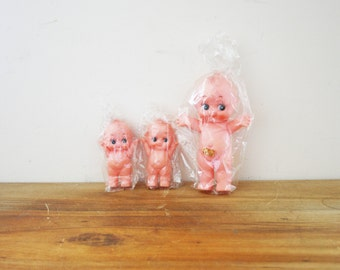 vintage 80s Set of 3 Plastic Kewpie Style Craft Dolly Group // Deadstock Crafting Supplies