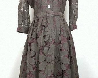 Vintage Brown Floral Lace Dress Belt S