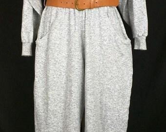 Vintage Heather Gray Jumpsuit 80s M