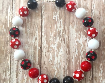 Cute As A Bug Ladybug Bottle Cap Pendant Chunky Bead Necklace
