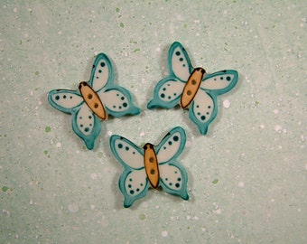 Blue Butterfly Button set of 3