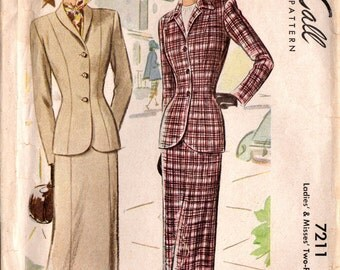 1940s McCall 7211 Vintage Sewing Pattern Misses Two-Piece Suit Size 18 Bust 36