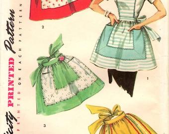 1950s Simplicity 4857 UNCUT Vintage Sewing Pattern Misses Half Apron, Tea Apron, Hostess Apron, Full Apron, One Yard Apron One Size