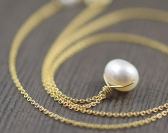Valentine's Day gift White pearl necklace gold filled necklace wedding jewelry wedding necklace gifts for her