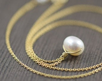 White pearl necklace gold filled necklace wedding jewelry wedding necklace gifts for her