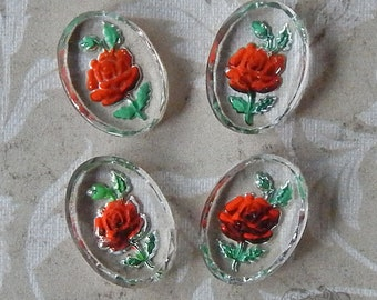 Vintage Glass Intaglio Cabochons - 13x18 mm Red Rose Reverse Painted Shabby Chic (4 pc)
