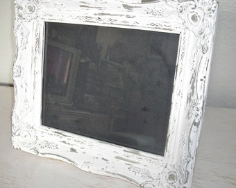 creamy white and silver picture frame - ornate wedding frame - shabby romantic chic - hollywood regency
