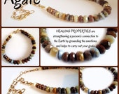 AGATE Necklace,  Faceted, many colors, bright gems, adjustable