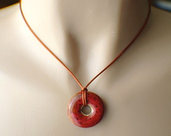 Red ceramic donut pendant necklace on copper brown satin cord copper clasp speckled red and brown 28mm 1 inch 16.5 inch 42cm simple minimal