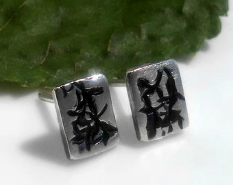 Organic Botanical Earrings, Sterling Silver Post Earrings, Nature Jewelry, Floral, Asian Blossoms, Bricks, Rectangle Garden Vine Jewelry