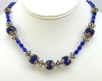 Czech Fire Polish Faceted Cobalt and Sterling Silver - Necklace and Earrings