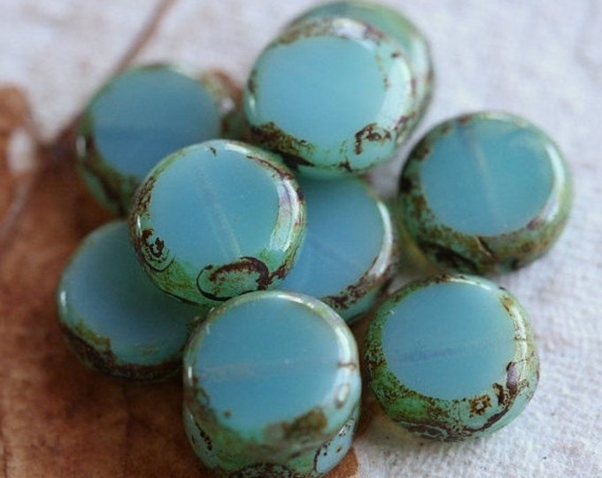 sale .. SLICED OPAL SKIES .. 10 Picasso Czech Glass Coin Beads 10mm (4575-10)
