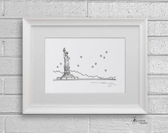 Sketch Series - Statue of Liberty, New York City - Art Print (5 x 7)