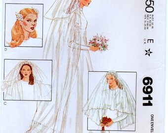 Vintage McCalls 6911 Set of Misses Bridal Headpieces and Veils Sewing Pattern
