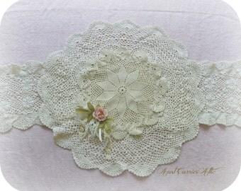 "Doily Runner Wedding Linens Crochet Doilies Wedding Centerpiece Dining Room Linens Bridal Shower Decor Table Topper Cream Color 34"" Long"