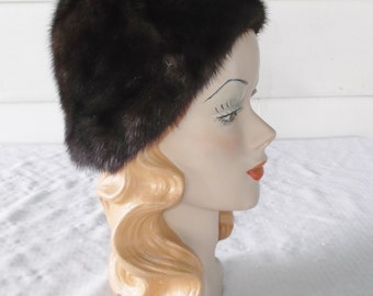 1960s Vintage Dark Brown Mink Hat or Cap 22