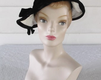 1960s Vintage Black and White Velvet and Leather Floppy Brimmed Hat