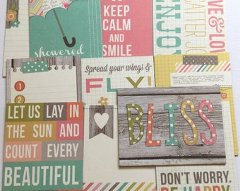 BLISS -  Distressed Journal Cards - Chipboard Die Cuts - Picture Cards, Journal Spots & Quote Embellishments - 11 Pieces