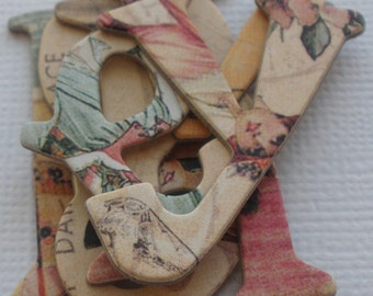 "LADIES of PAST: Chipboard Letters &  Tag  Die cuts ... 1"" -- 1.5""  Tall"