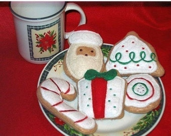 Felt play Christmas Cookies Set Of 5 Play food Pretend food Perfect for play kitchens #PF2514