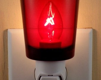 Ruby Red Glass Glass  Votive  Cup Custom  Night Light