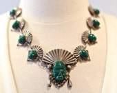 RESERVED Vintage 1940s Mexican Sterling Silver Green Agate Aztec Faces Chain Necklace