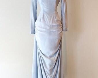 Vintage 1930's Ice Blue Velvet Evening Gown ~ Vintage 1930's Wedding Gown Wallis Blue Dress