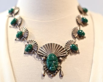 Vintage 1940s Mexican Sterling Silver Green Agate Aztec Faces Chain Necklace