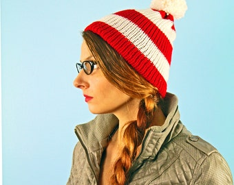 The Waldo Beanie Hat Red and White Striped Pom Pom Easy Halloween Costume for Kids Teens and Adults Fall Gift Last Minute Costume October