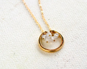 Serena Necklace - gold crescent moon and moonstone necklace, rainbow moonstone necklace, crescent moon, bridesmaid jewelry