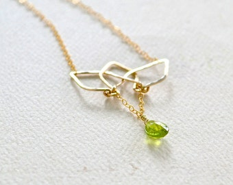 Blooming Lotus Necklace - lotus flower necklace, lotus blossom necklace, yoga jewelry, peridot lotus pendant necklace, modern minimalist