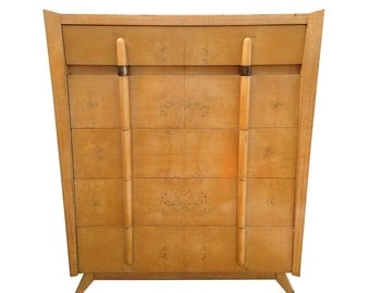 Free Shipping Mid Century Modern Burlwood Highboy Dresser Paul Frankl