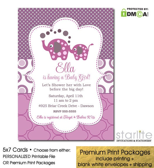 Elephant Baby Girl Shower Invitation Purple Magenta Printable