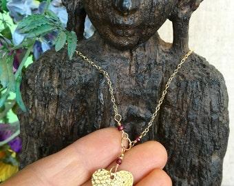 Brass Heart With Garnet