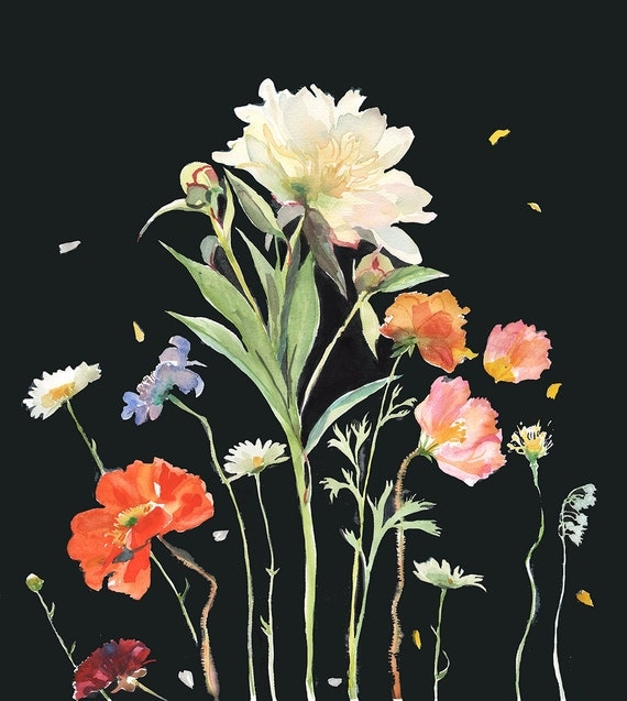 Botanical on Black #2 Giclee print by Gretchen Kelly