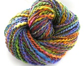 Handspun Yarn Hand Dyed BFL Wool Silk Bulky Yarn Art Yarn 194 yards - Spring Color