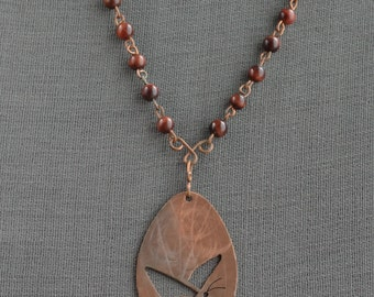 Butterfly necklace with red tiger eye beads