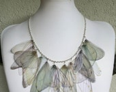 Wings - Ivory, Pale Blue and Pale Green Silk Organza Butterfly Cicada Moth Wings Necklace - Made to Order